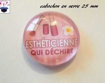1 cabochon clear 25 mm theme beautician