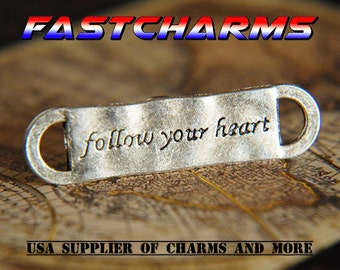 FOLLOW Your Heart CONNECTOR, 1/5 pcs,silver tag, tag connector, silver message, message tag, jewelry findings, silver jewelry (YB50C/J105)