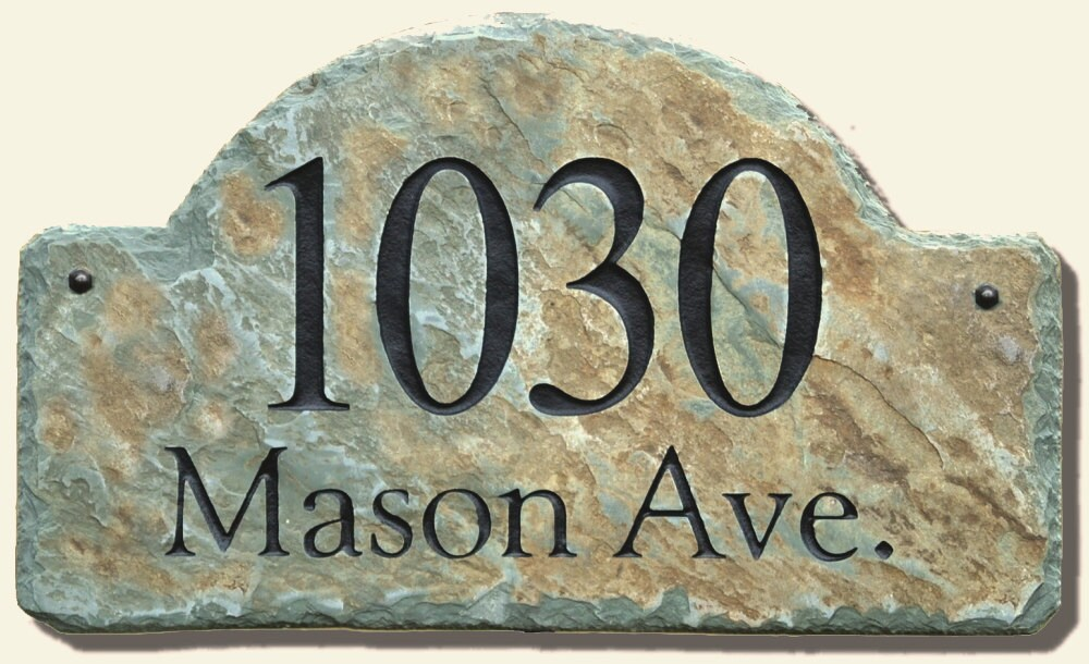 House Number Plaques Slate: Address Plaque ARCH / CARVED STONE / Sign / Marker / Slate