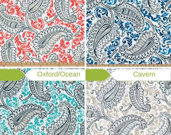 Premier Prints Outdoor Shannon - Fabric by the Yard - Outdoor Large Paisley Fabric  - Patio Upholstery Fabric  - Shower Curtain Fabric