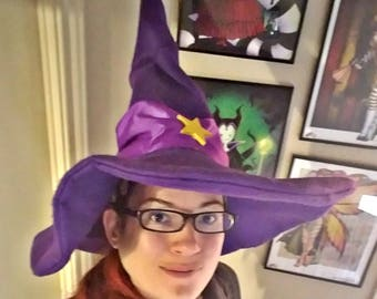 Full Size Felt Soft Brim Purple Witch Hat Inspired by Bubble Witch Saga 2 Stella