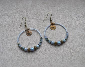 "Creoles ""cloud"" sky blue tone glass, Miyuki, Swarovski Crystal Pearl, brass beads"