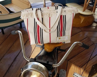 Bohemian natural 100% cotton canvas tote bag, beach bag, weekend bag, boho