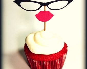 Cupcake Toppers- 12 Cat Eyes and Lips Cupcake Toppers- Little Miss Party- Lips on a stick- Cat Eye Glasses- cupcake decorations