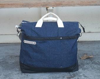 Blue Denim Bag - Indigo Bag - Large Denim Bag- Denim Cabin Bag- Blue Weekender Bag -style: OASIS