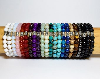 Mala Bead Bracelet, Bohemian Jewelry, Teen Gift, Bead Bracelet, Natural Gemstone Bracelet, Woman Gift, Man Gift, Yoga Bracelet, Meditation