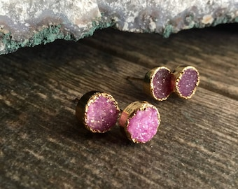 Druzy Studs,Druzy Stud Earrings,Druzy Earrings,DruzyJewelry,Druzy Earrings,Stud Earrings,Gemstone Studs,Pink Earrings,Druzy,Earrings,Pink