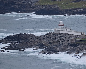 Valentia Island, County Kerry, Ireland Photography, Wall Art, Man Fishing, Lighthouse Print, Wall Decor, Fine Art, 8 x 10 Photo, 5 x 7 Photo