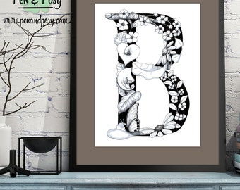 PRINTABLE Monogram Letter B Digital Print Hand Drawn Pen and Ink