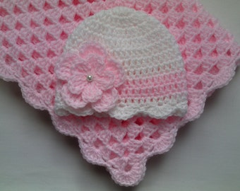 Crochet PATTERN Baby Blanket and Baby Hat Set Gift, PDF file #19, Girl baby white beanie flower pink afghan