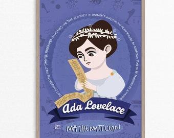 Ada Lovelace, donne nella scienza, matematica, programmatrice, poster illustrato, regalo per matematica, poster scienza, stampa Ada Lovelace