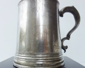 Antique English Victorian Pewter Ale / Beer Pint Stein / Tankard - Monarch Verification Mark 1880's