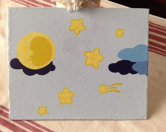 Canvas Quote: night sky, child's bedroom canvas, shooting star