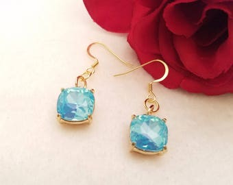Mother's Day, Topaz Crystal Earrings With Gold French Ear Wires