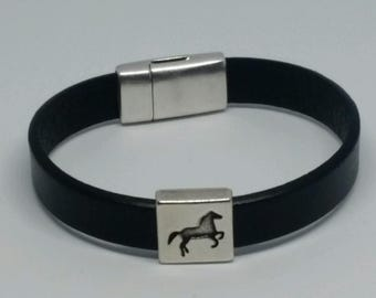 Leather bracelet with antique silver horse slider and magnetic clasp