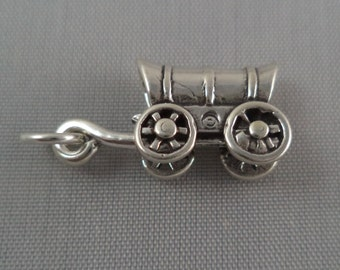 STERLING SILVER Covered Wagon Charm for Bracelet or Necklace