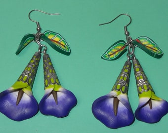Polymer Clay Earrings Large Blue Calla Lily with Leaves