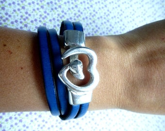Navy Blue bracelet of genuine leather with heart clasp