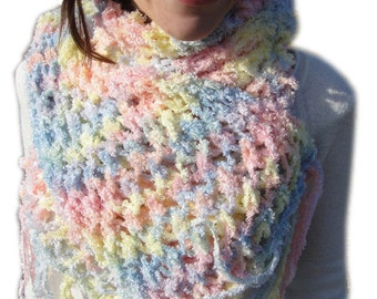 SALE 30 % OFF, Pink Scarf  Hand knitted