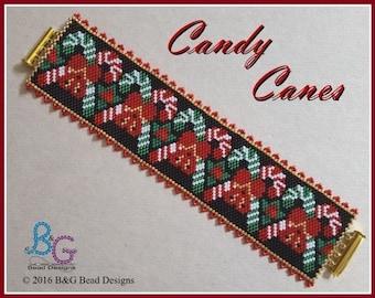 CANDY CANES Peyote Cuff Bracelet Pattern