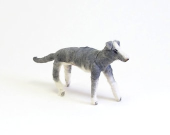Spun Cotton Vintage Inspired Grey and White Greyhound Dog Figure/Ornament (MADE TO ORDER)