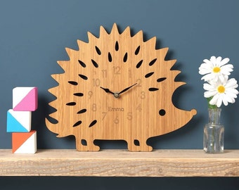 Hedgehog Wall Clock - Modern Clock - Childrens Clock -  Wall Decor - laser cut by Owl & Otter
