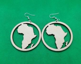 Natural birch wood Africa Earrings