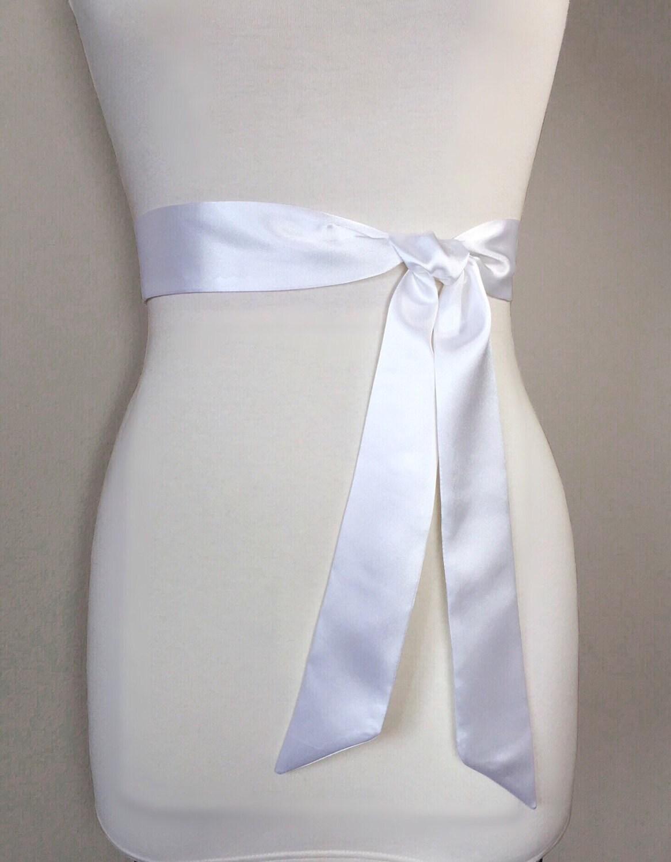 Narrow White Satin Sash, White Sash Belt, Bridesmaid Sash, White ...