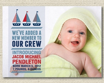 "Baby Announcement Birth Announcements - ""Boats"""