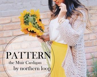 Knitting Pattern / Chunky Handmade Sweater / the MUIR Cardigan