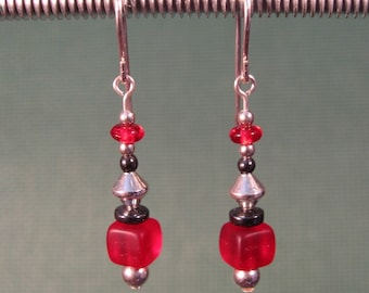 Sterling Silver Red Glass Dangle Earrings