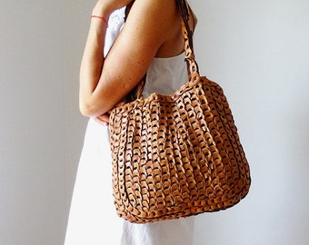 Woven bag brown soft leather tote bag slouchy leather bag brown leather tote market bag vintage 70s