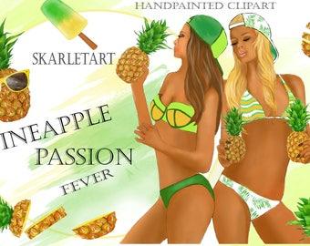 Handpainted Clipart Beach Fashion Girls Summer Clip Art Beach Clipart  Tropical Pineapple Beach Party Sunglasses Planner Stickers