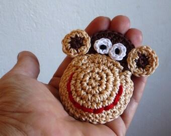 Monkey Brooch - Kids Jewelry - Crochet Monkey - Monkey Pin - Monkey Ornament - Animal Ornament - Gift for Kids - Baby Shower Gift