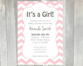 Chevron pink baby shower invitation - printable | It's a girl baby shower invite | Pink and white baby shower invitation