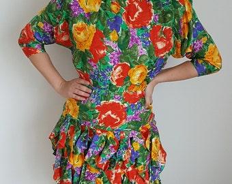 Vintage summer dress in 100% silk