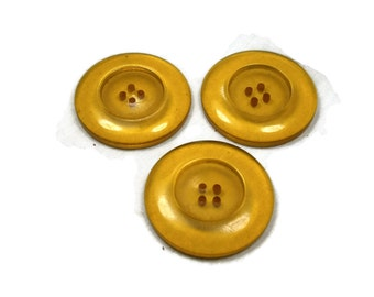 Three (3) Large Lucite Coat Buttons. Transparent Yellow Lucite Buttons. Vintage Buttons, 1940's