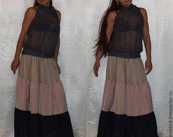 Skirt Tiered Ruffle Light Satin Urban Boho Gipsy Elegant  Long Skirt  Plus size