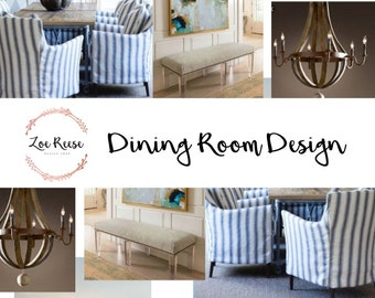 Dining room interior design: Digital service for family room decor | Mood board, product list and space plan delivered via email