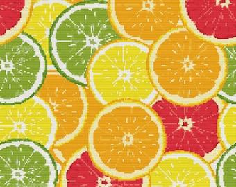 Citrus Cross Stitch Pattern, Instant Download PDF, Orange, Background cross stitch, pdf cross stitch.#033