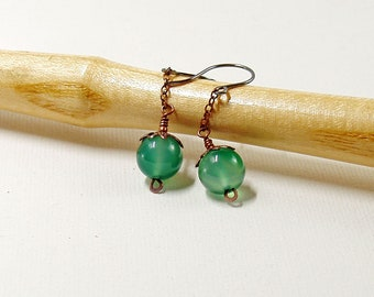 Green Agate Chain Drop Earrings in Oxidised Copper with Sterling Silver Ear Wires