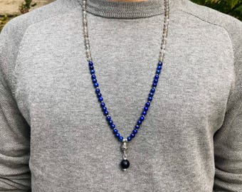 Mens Lapis Lazuli and Moonstone Mala Necklace/ Mens Knotted Japa Mala  / Mens Buddhist Necklace/Husband Gifts / Mens Meditation Gifts