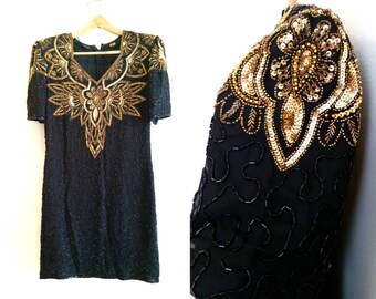 vintage beaded dress silk dress great Gatsby party dress, 1920s dress black and gold dress, black and gold sequined dress large