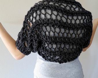 Charcoal Gray Shrug Dark Gray Color Chunky Lace Knitted Short Bolero Sleeves Wool Mix Yarn