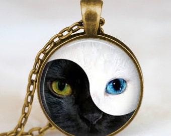 Cat eyes yin yang necklace , yin yang pendant , chinese yin yang jewelry , unique gift, zen necklace, glass dome necklace, art pendant