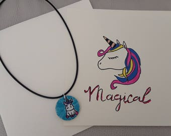 Postcard and Unicorn necklace
