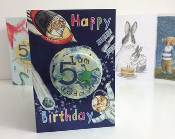Space Animals Birthday Card with Age Badge