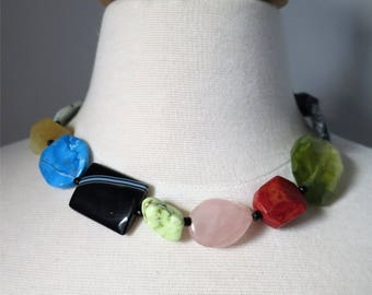 Statement necklace short colorful mix of gemstones and beads Many Treasures