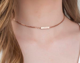 Personalized Choker Necklace, Dainty Choker Gold, Personalized Name Plate, Choker With Name , Bridesmaid Gift , Choker Necklace