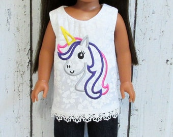 Clothes to Fit Wellie Wisher.Unicorn Embroidered Top.Denim Pants.Doll Clothes to Fit 14 and 14.5 Dolls.Colorful Unicorn Shirt.